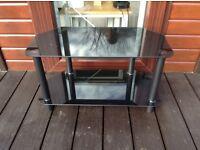"Black glass tv stand ""free"""
