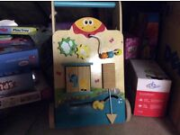 Wooden baby walker and sit to stand musical activity bear - v tech