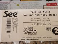 Carfeast North weekend ticket less than face value £100. The ticket is in hand.