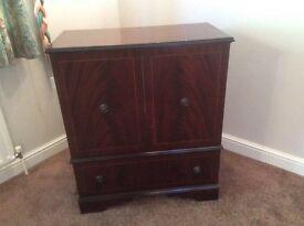 TV cabinet, dark wood, with storage beneath