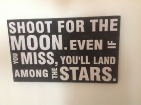 Large black and white Wall art sign shabby chic shoot for the moon