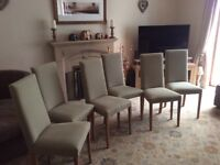 6 Light Sage With Oak Legs Dining Chairs Plus 6 Cream Covers