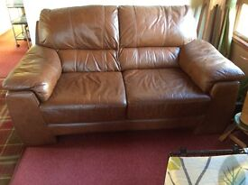 3+2+1 tan leather suite with electric recliner chair.