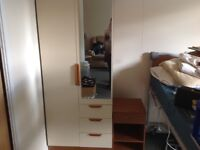 Bedroom furniture - wardrobe, chest of drawers and bedside cabinet. From clean, smoke free home.