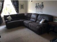 Harveys Guvnor corner sofa with two manual recliners. Also Harveys Gunner manual recliner Chair