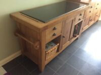 Solid Oak Kitchen Island with Granite Top