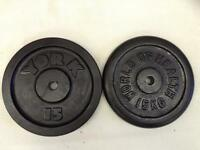 2 x 15kg Odd Standard Cast Iron Weights