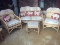 Conservatory Suite with two seater settee, two arm chairs and a footstool.