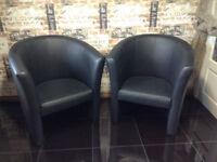Vegas Black/gray Faux Leather Tub Bucket Chair 2