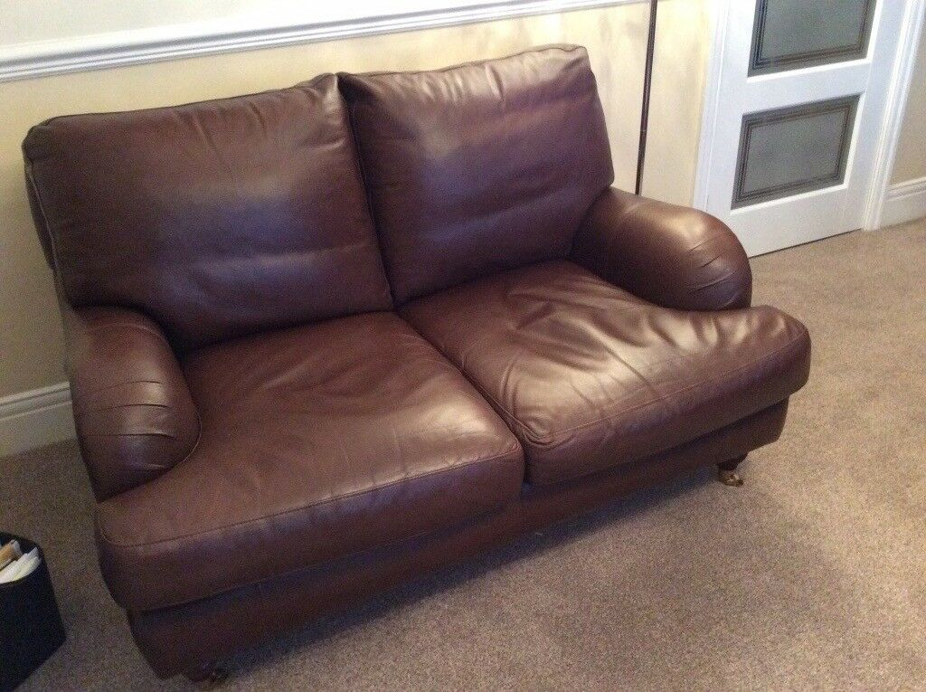 2 & 3 seater brown leather sofas