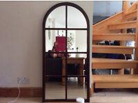 Dark wooden arched mirror height- 121 cm width -56.5cm