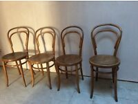 Set of 4 pretty Bentwood vintage bistro dining chairs