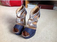 Ladies navy high heeled shoes