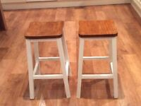 2 Stools 60 cm high and 30 cm wide freshly painted and varnished
