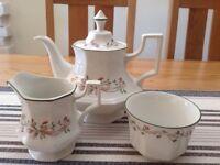 Beautiful teapot, sugar bowl and milk jug,Eternal beau pattern by Johnson bros
