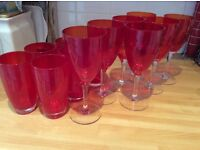 6 water/juice glasses, red, total 6 glasses