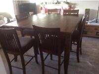 American solid hardwood dining table and 6 chairs