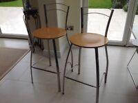2 x John Lewis kitchen bar stools, chrome frame with wooden seat.