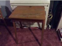 Vintage Old Childs Table atop Desk with Storage