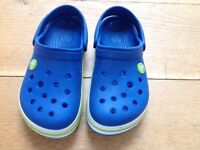 Crocs - blue with white/green trim, UK size 12-13