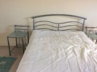 Silver Metal double bed with 2 side tables