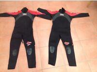 2 x children wetsuits - size 5 & 6, fantastic condition