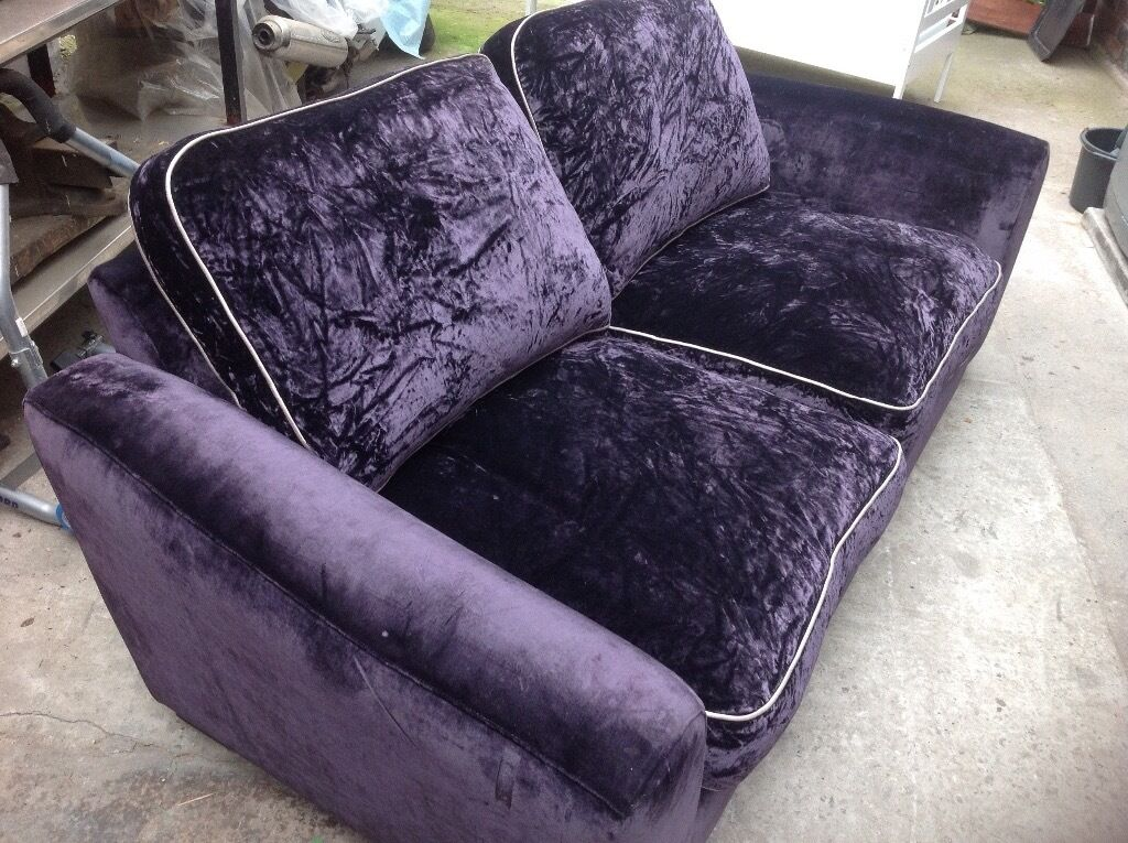 Sofa 3seater Crushed Purple Velvet