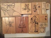 12 x used rubber craft stamps