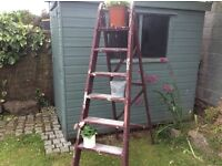 Vintage sturdy wooden folding step ladder 6ft high Display or use for purpose