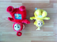 2 Teletubbies Soft Toys Laa-Laa and Lights and Sounds Telly Tummy Po by Tomy Morden SM4