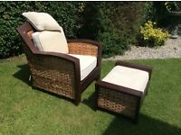 Large hard wood conservatory/summer house chair and stool