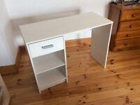 White desk with chrome handles