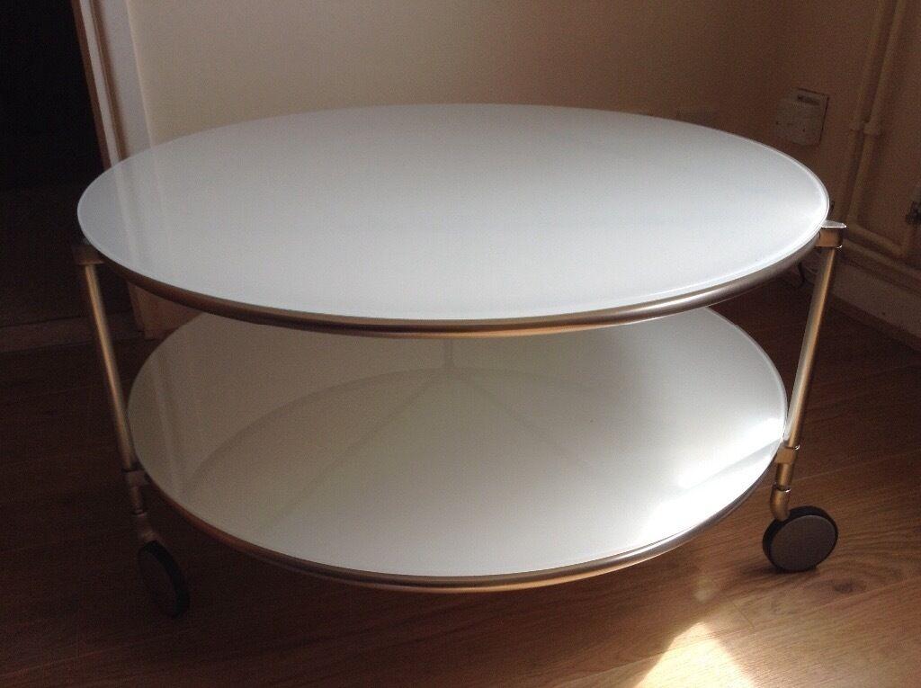 Strind Ikea Round Glass Coffee Tea Table White Must Go