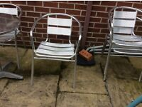 Aluminium Chrome outdoor chairs.