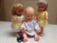 Three dolls from the 1960s