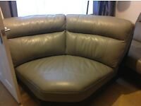Genuine soft leather dark grey corner sofa with swivel chair