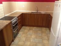 B&Q Sandford kitchen units with Butterum work tops and 1.5 bowl sink