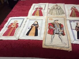 Cross stitch tapestries HENRY V111 & his 6 wives +Elizabeth 1st