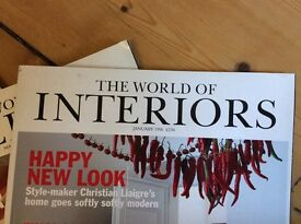 """Vintage issues """" The world of interiors """" magazines 1996"""