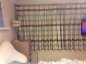 Curtains - pair of nautical stripped blue/cream M&S,, pinch plea curtains with buttons.