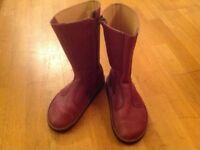 Ladies mid calf leather boots