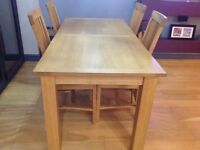 Solid oak dining chairs and table