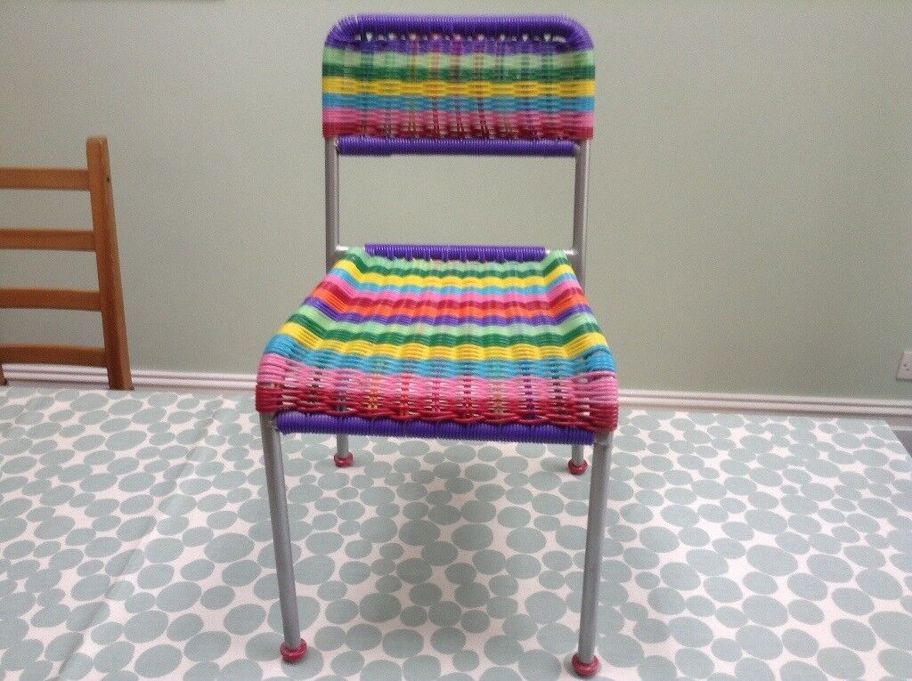 Ex Ikea Multi Coloured Children S Chair Metal Frame Woven Plastic Seat And Back