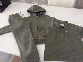 Lacoste tracksuit and polo age 6 khaki
