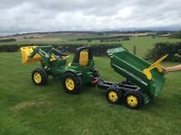 John Deere ride on tractor with front loader and tipping trailer
