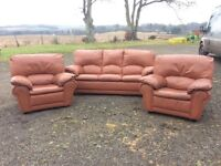 Tan leather 3 pc suite for sale
