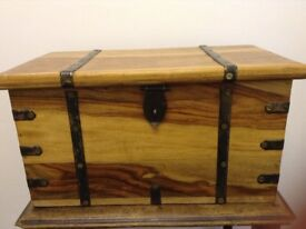 Decorative wooden box with handles