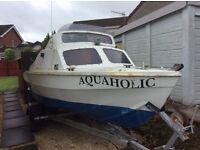 16 foot fishing boat 40hp on adjustable trailer