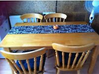 Pine, Rubberwood kitchen/dining table with four chairs