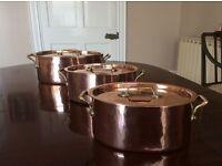 3 Villedieu Copper tin lined saucepans with bronze handles